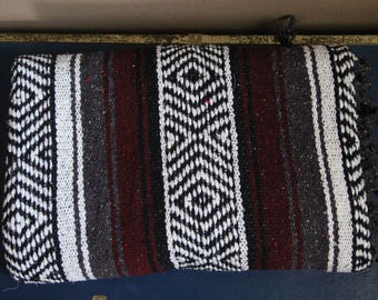 Vintage 1980s / 1990s Southwestern Aztec / Tribal Print Mexican Fringe Throw Blanket Dark Red Maroon Black and White Home Decor