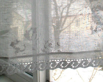Curtains Vintage Lace Curtains Cafe Curtains Washed Linen Curtains Kitchen Curtains Shabby Chic Curtains Panels White Flowers