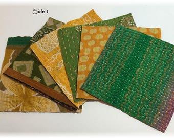 "SIX 6x6"" Kantha Quilt Charm Squares for Mixed Media, Fiber Arts-Cotton"
