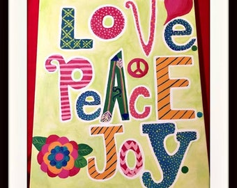 """BOHEMIAN COWGIRL """"Love Peace Joy"""" Mixed Pattern Quote with Heart Arrows and Flower Large Canvas Hand Painted Wall Art"""