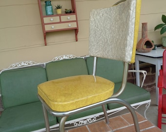 Vintage Kitchen Chair 1950u0027s Yellow Formica Kitsch Original Retro Mid  Century