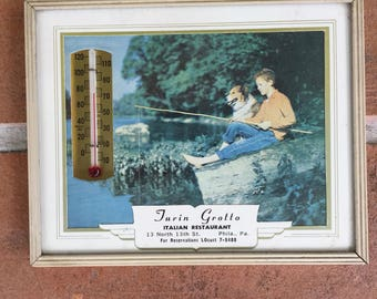 vintage advertising thermometer Philadelphia Pennsylvania Grotto Italian Restaurant 1950's kitsch dog fishing