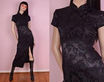 90s Black Oriental Dress/ US 5/ 1990s/ Cheongsam/ Asian Style/ Mandarin Collar