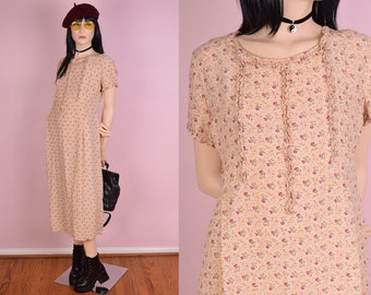 90s Floral Print Dress/ US 6/ 1990s/ Short Sleeve