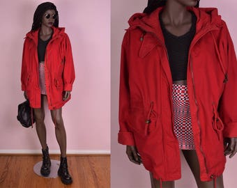 Red hooded coat | Etsy
