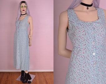 90s Floral Print Button Down Dress/ US 8/ 1990s/ Maxi/ Long/ Tank/ Sleeveless