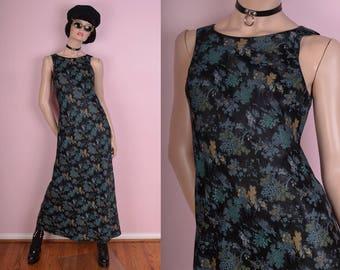 90s Oriental Print Maxi Dress/ Medium/ 1990s