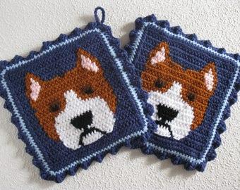 Pit bull Dog Pot Holders.  Denim blue, crochet potholders with American Staffordshire dogs. Am staff bull terrier gift