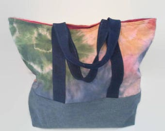 Large Beach Bag, Tote Bag, Overnight Bag, Upcycled Denim, Tie Dyed Canvas, Sustainable Tote