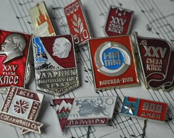 Set of 10 Vintage Soviet RED badges,pins.