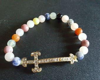 Beaded gemstones with cross bracelet