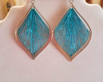 Beautiful Turquoise and Silver Metallic Leaf Orament Thread Earrings Boho, Native, Southwestern, Hippie, Great Gift Ready to Ship