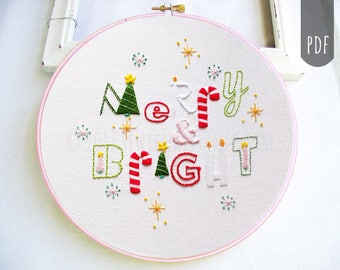 Hand Embroidery Pattern PDF Christmas Merry & Bright Holiday