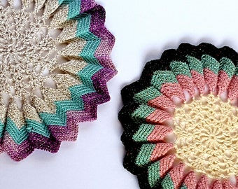 Adorable Multi Colored Doilies with Sparkles Yarn Vintage Retro set of 2