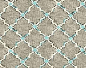 One Custom Twin Size Mattress Cover for  Indoor/Outdoor - Trellis Geometric - Blue/Grey