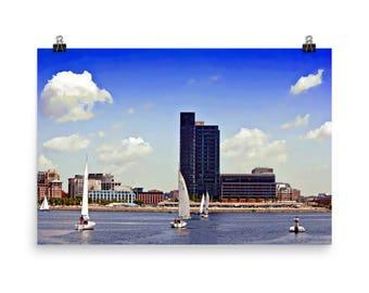 Inner Harbor Sailboats Sailing, Baltimore, Maryland, Nautical Art, Baltimore Art, Museum Quality Poster Print
