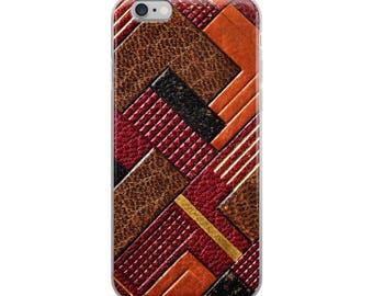 Art Deco, Faux Leather, Retro, Vintage, Brown, Tan, Black, iPhone Case