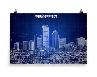 Boston Skyline, Blue Print, Bean Town, John Hancock, Massachusetts, Blueprint blue, Museum Quality Poster Print