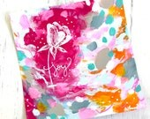 "Floral ""Joy"" Abstract Painting on 6x6 inch watercolor paper / Mixed Media Painting / Spring Colors / White Rose / Happy Art"