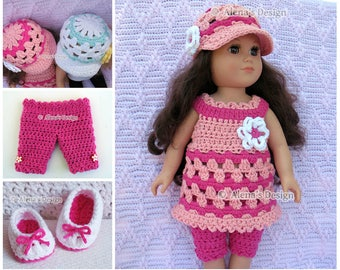 Crochet Pattern 4 PC Set for 18 in Doll Crochet Patterns Lace Dress Capris Visor Hat for American Doll 18 inch Dolls Outfit Gift for Girl