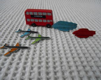 6 London Vintage Game Pieces Planes Trains Automobiles and a Bus Metal