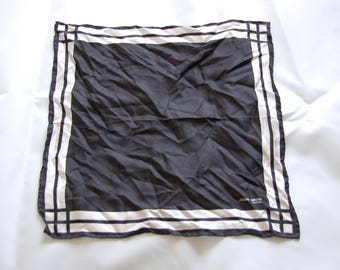 Vintage Joseph Abboud Black and White Silk Pocket Square Handkerchief