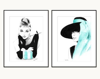 Audrey Hepburn Breakfast at Tiffany's - Pencil and pen drawing - Black and White, Tiffany blue