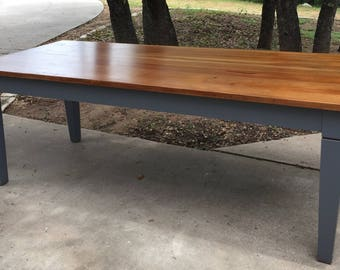 Refinished Solid Wood Conference Dinner Farm Table Seven Feet Meetings Buffet Family Show Events