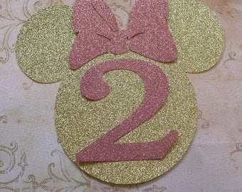 XL Minnie Mouse Head Shape 2 yr Die Cut for crafts DIY Gold Pink Glitter Birthday Party Banners Wall Door Decorations