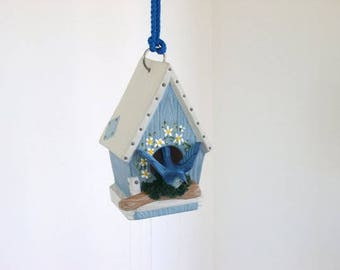 Wind chime, ceramic birdhouse chime, birdhouse with bluebird