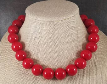 Statement Necklace, Red, Red Bead Necklace, Big Necklace, Red Necklace, Chunky Necklace, Big Bead Necklace, Beaded, Round Bead Necklace