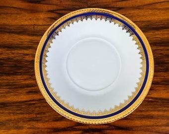 Vintage Limoges Cobalt & Gold Gilt Rim 18cm Bread and Butter Plate
