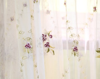 "2 Long Curtain Panels, Ivory Sheers, Delicate Rose Embroidery Floral Design, Shabby Decor 60"" wide x  84"" long Scalloped Bottom"