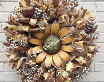 Summer/Fall Sunflower Wreath, Sunflower Wreath, Sunflower, Sunflower Decor