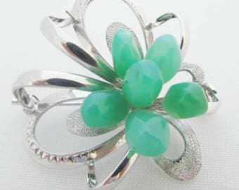 Marked Silver Brooch with Jade Nuggets, Jade Silver Pin, Stylized Flower or Bow Brooch with Jadeite Stones, Lucky Jade