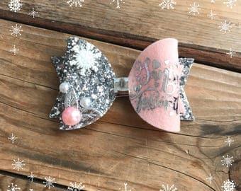 Pink and Silver Christmas Hair Bow Baby Girl Headbands Holiday Hair Bows Baby Headband Photography Prop Newborn Headbands Baby Christmas Bow