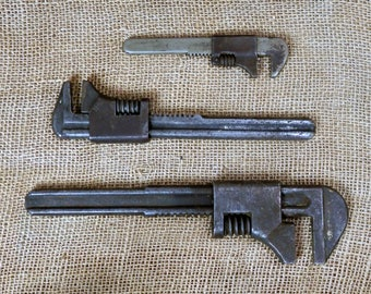Vintage Wrench / Vintage Pipe Wrench / Adjustable Wrench / Set of 3 Wrenches / Rusty Old Tools / Man Cave Garage / Large Medium  Small Sizes