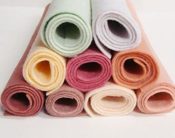 Dusty Pink Soft Color Felts 9 Colors Collection of Wool Felt Blend Fabric Sheets