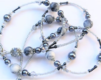 SILVER MARBLE- Gorgeous Beaded ID Lanyard Badge holder- Silver Crystals and Pearls with Tibetan Silver Beads and Spacers (Magnetic Clasp)