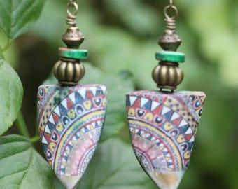 SALE, Handmade, Raku, African Look, Bohemian Style Earrings, Boho Style, Gypsy Style, Lightweight, Dangle Earrings