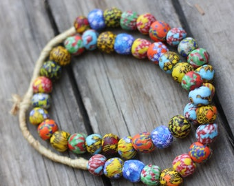 African Glass Beads, Multi Color, Confetti Beads, Glass Beads, Hand Cast Beads, Ethnic Beads Item 1048