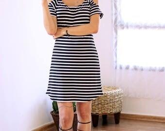 Black & white dress, striped dress, Off the shoulder dress, Boho dress, Open shoulder dress