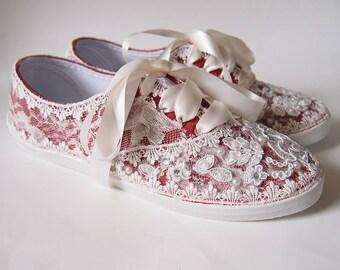 Wedding Bridal Tennis Shoes Sneakers - Dark Red -   Organza or Satin Laces - Rhinestone Pearls - vintage inspired - flat dancing