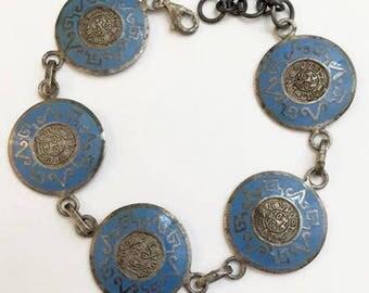 Vintage Enameled Sterling Silver Aztec Mayan Disc Link Bracelet