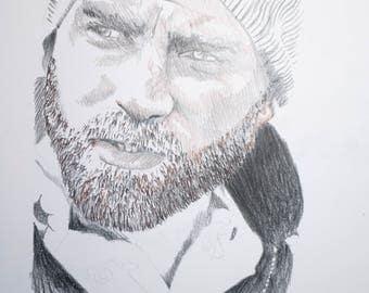 Original Drawing Portrait, Winter Hair, 12x12 inches. Man portrait, masculine art, beard, facial hair, Mens room art