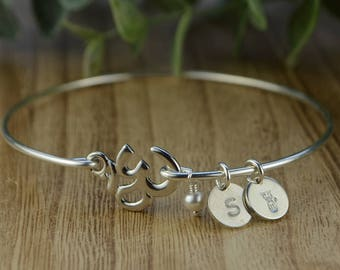 Ohm Om Bangle Bracelet-  Initial and Zodiac Personalized Sterling Silver Filled Wire Wrap Bracelet- Custom Made to Size