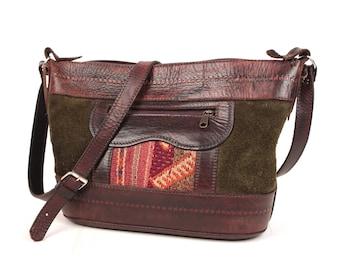 leather and suede shoulder bag // kilim insert