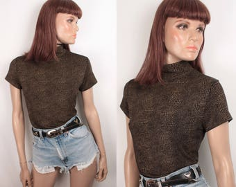 90s spandex top // mock neck // reptile print