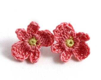 Earrings - Vegan Earrings - Vegan Jewelry - Earrings Studs - Crochet Earrings - Flower Earrings - Stainless Steel Earrings - Coral Earrings
