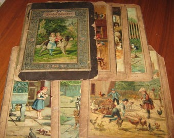 Antique German Childrens Book Lithograph on Cardboard 1800s